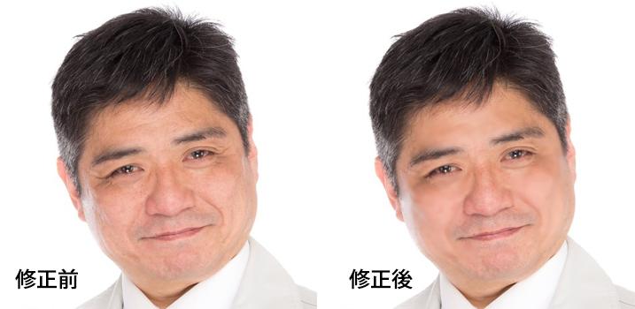 画像の顔のしわを簡単に消しました